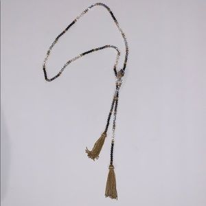 Crystal and gold tassel lariat necklace